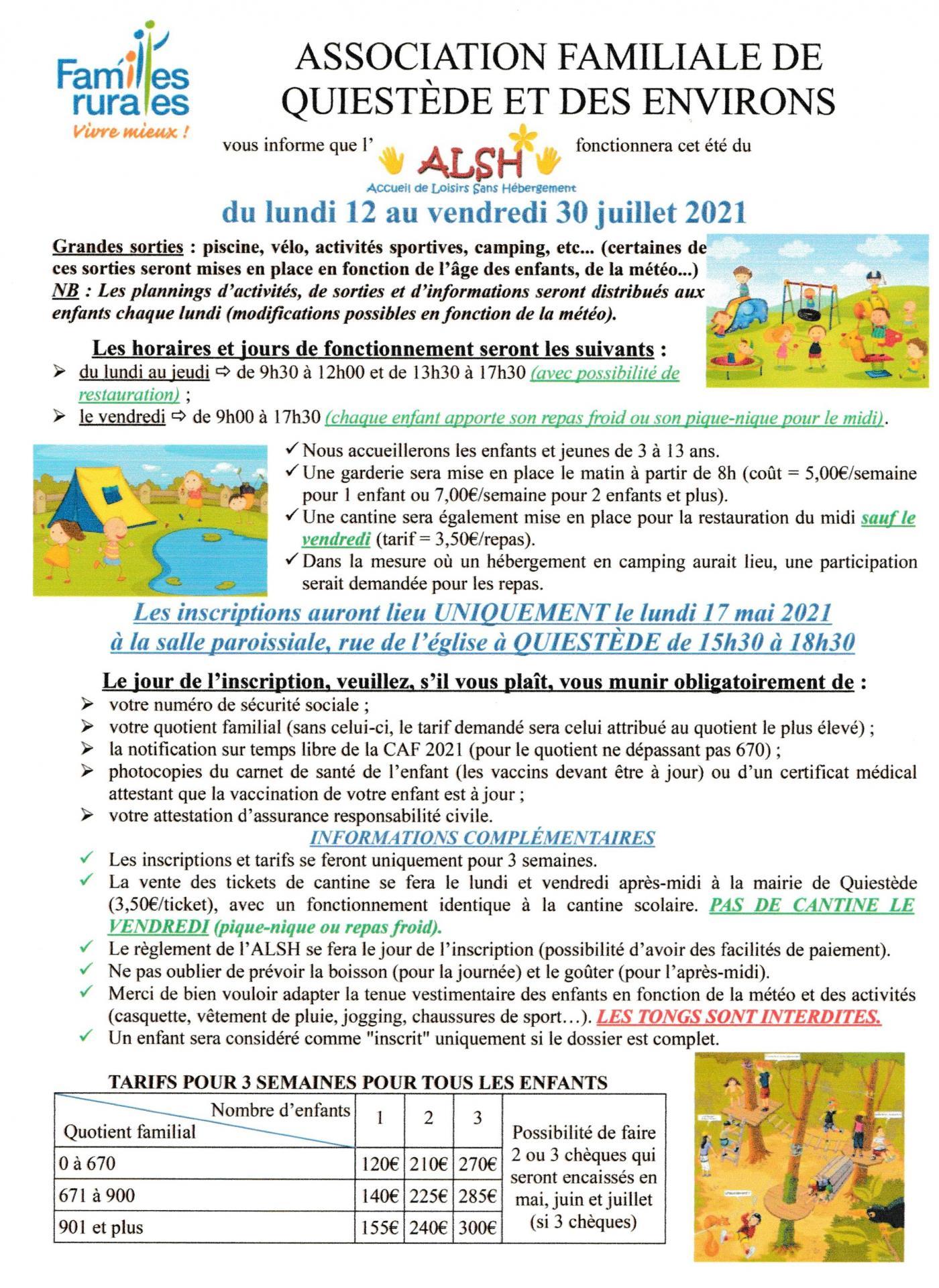 ASSOCIATION FAMILIALE DE QUIESTÈDE ET DES ENVIRONS